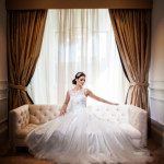 Bride sitting on sofa